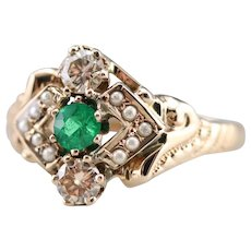 Upcycled Green Garnet Diamond and Seed Pearl Ring