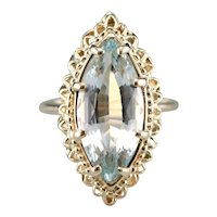 Pretty Marquise Cut Blue Topaz Cocktail Ring