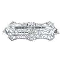 Art Deco Ostby & Barton Diamond Filigree Brooch