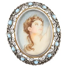 Italian Vintage Filigree Painted Portrait Brooch or Pendant