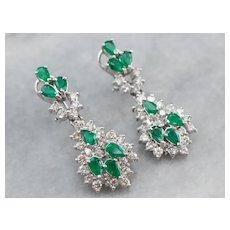 Emerald and Diamond Chandelier Drop Earrings