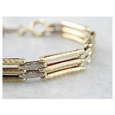 14K Two Tone Patterned Gate Link Bracelet