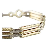 14K Two Tone Patterned Gate Link Bracelet