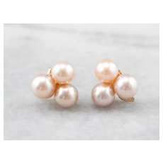 Pink Cultured Pearl Clover Stud Earrings