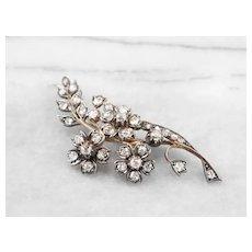 Lovely Old Mine Cut Diamond 1850s Floral Brooch