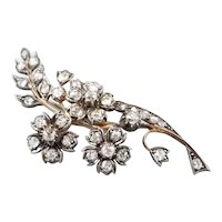 Lovely Old Mine Cut Diamond 1850s Floral Brooch