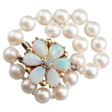 Opal Flower and Cultured Pearl Beaded Bracelet