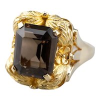 Vintage Smoky Quartz Botanical Statement Ring