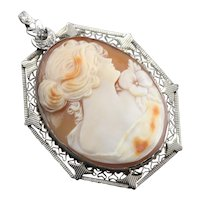 Art Deco Diamond Cameo Pendant