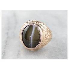 Cat's Eye Sillimanite Dragon Ring