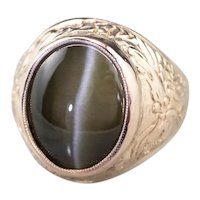 Cat's Eye Sillimanite Dragon Ring
