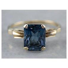 Retro Dark Blue Topaz Solitaire Ring