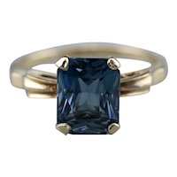 Retro Dark Blue Topaz Solitaire Ring