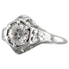Lovely Upcycled Deco Diamond Solitaire Ring