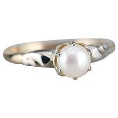 Retro Era Cultured White Pearl Solitaire Ring
