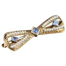 Antique Sapphire Bow Pin