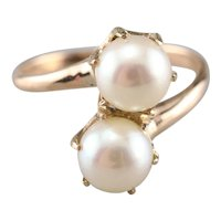Victorian Double Cultured Pearl Bypass Ring