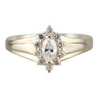 Marquise Diamond Halo Cluster Ring
