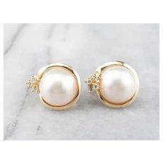 Mabe Pearl Diamond Stud Earrings