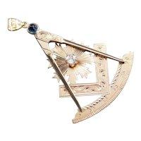 Masonic European Cut Diamond Pendant