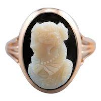 Victorian Black Onyx Cameo Ring