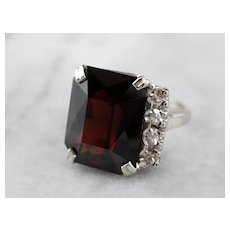 Stunning Garnet and Diamond Cocktail Ring