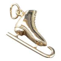 Vintage 14 Karat Gold Ice Skate Charm