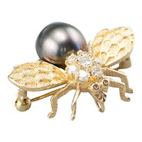 Diamond and Black Cultured Pearl Bumblebee Pin or Pendant