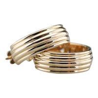 Grooved 14 Karat Gold Hoop Earrings