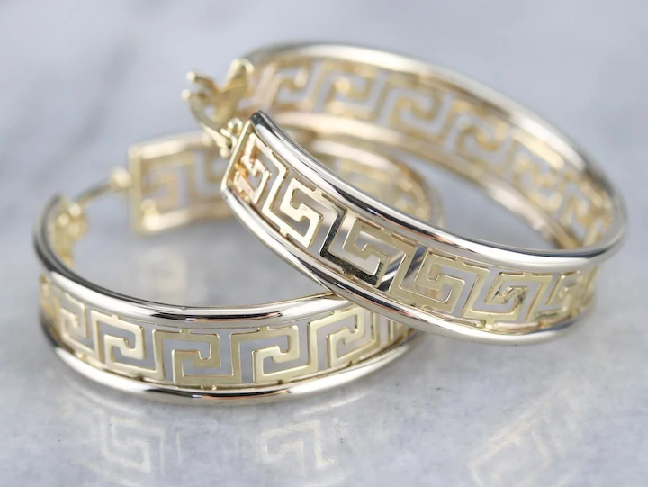 ff5f1fffa Vintage Greek Key Pattern Hoop Earrings : Market Square Jewelers | Ruby Lane