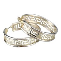 Vintage Greek Key Pattern Hoop Earrings