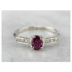Retro Era Ruby and Diamond Engagement Ring