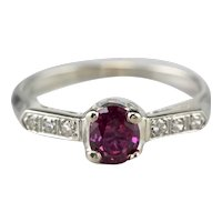 Retro Era Ruby and Diamond Engagement Ring