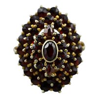 Antique Bohemian Garnet Cluster Ring