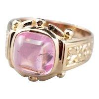 Pink Tourmaline Cabochon Statement Ring