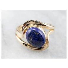 Modernist 14 Karat Gold Lapis Ring