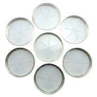Vintage Etched Glass, Set of Seven Coasters