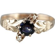 Sapphire and Cultured Seed Pearl Ring