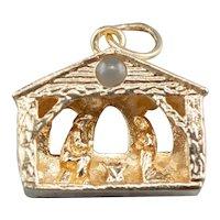 Vintage 14 Karat Gold Manger Lords Prayer Charm Pendant