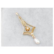 Antique Diamond Pearl Lavalier Pendant