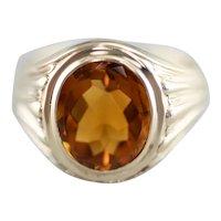 Men's Green 14 Karat Gold Citrine Ring