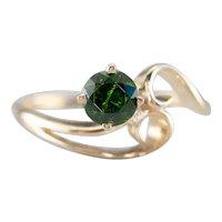 Modernist Demantoid Garnet Solitaire Ring