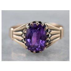 Victorian Purple Sapphire Solitaire Ring