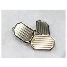 Vintage Black Enamel 14 Karat Gold Cufflinks