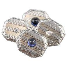 Art Deco Synthetic Sapphire Diamond Cufflinks