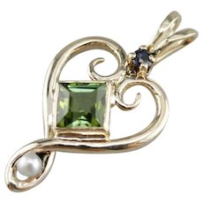 Vintage Green Tourmaline Lavalier Pendant