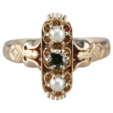 Demantoid Garnet Cultured Pearl Dinner Ring