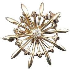 Lovely Diamond Starburst Pendant or Brooch