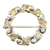 Art Nouveau Cultured Seed Pearl Circle Pin