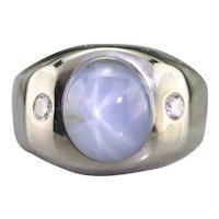 Men's Star Sapphire and Diamond Ring